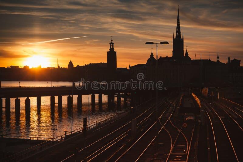 Gamla Stan bij zonsondergang, Stockholm, Zweden stock fotografie