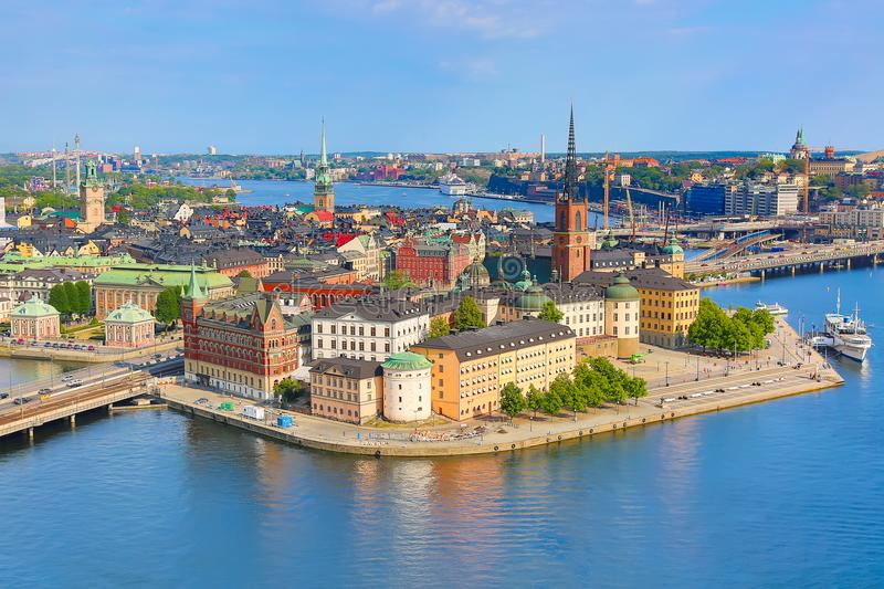 Gamla Stan, the old part of Stockholm in a sunny summer day, Sweden. Aerial view from Stockholm City hall Stadshuset. stock photo