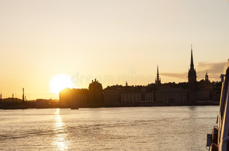 Gamla stan stary Sztokholm przy zmierzchem fotografia royalty free