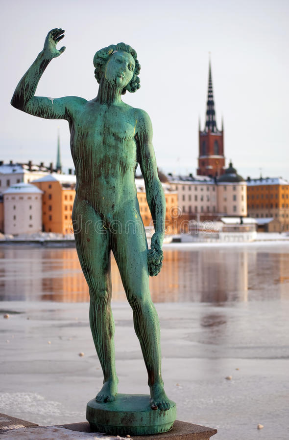 Gamla Stan With Statue Royalty Free Stock Image