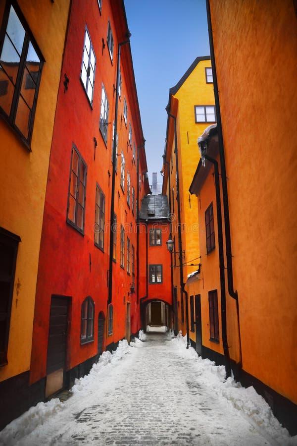 Gamla Stan Stockholm Straße lizenzfreies stockfoto