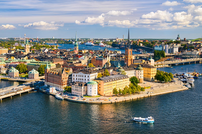 Gamla Stan in Stockholm, Sweden. Aerial view of Gamla Stan (old town) in Stockholm, Sweden royalty free stock images