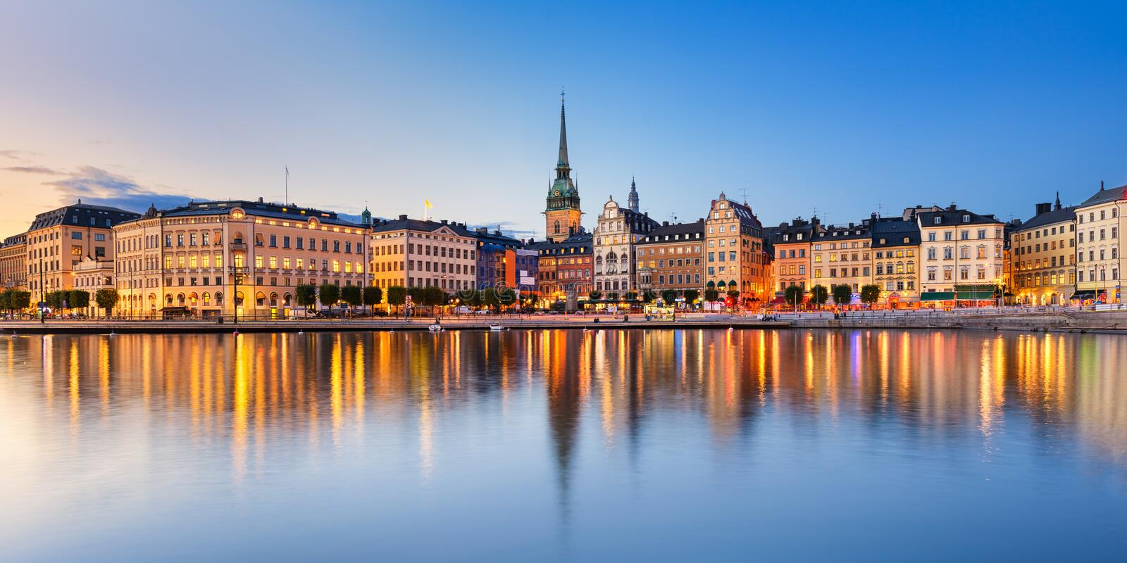 Gamla Stan in Stockholm, Sweden. Gamla Stan (old town) at night in Stockholm, Sweden royalty free stock image