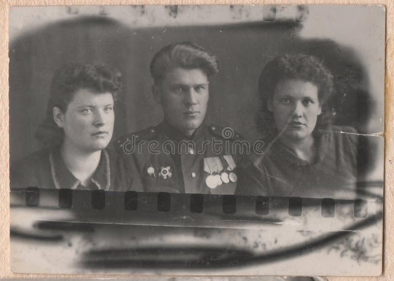 Gamla svartvita fotografier royaltyfria bilder