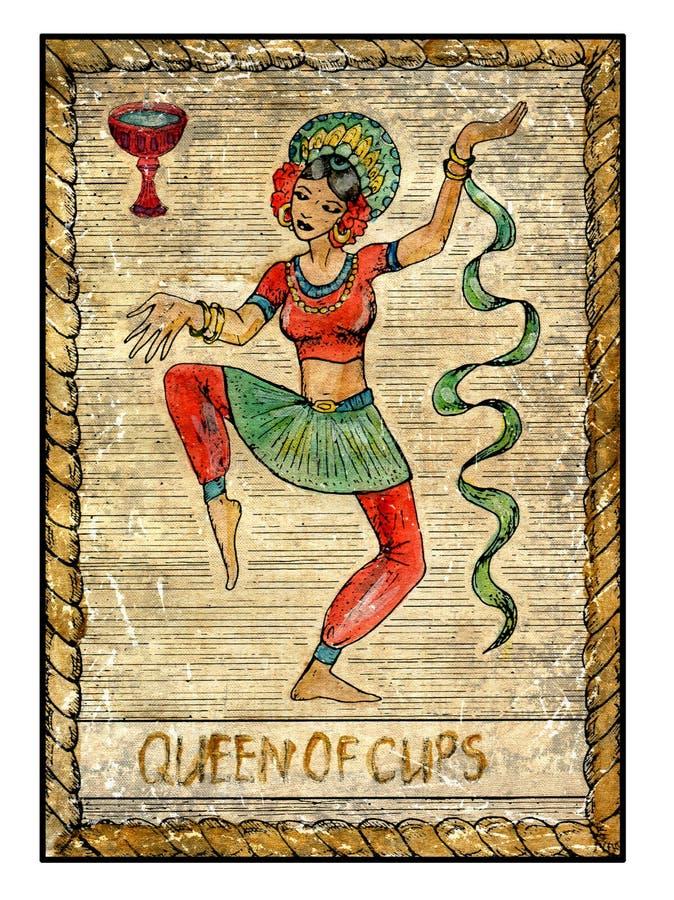 Gamla tarokkort Fullt däck Drottning av koppar royaltyfri illustrationer