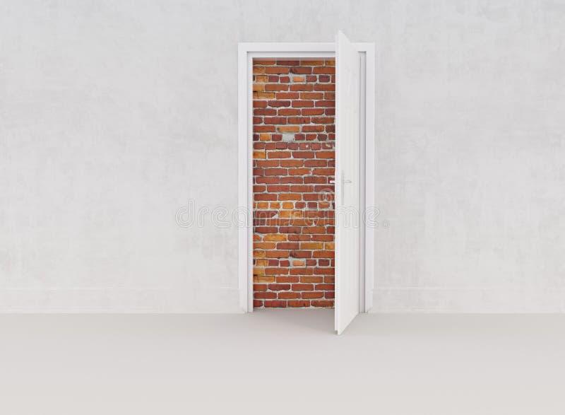 Gamla tegelstenar och vit dörr arkivbild