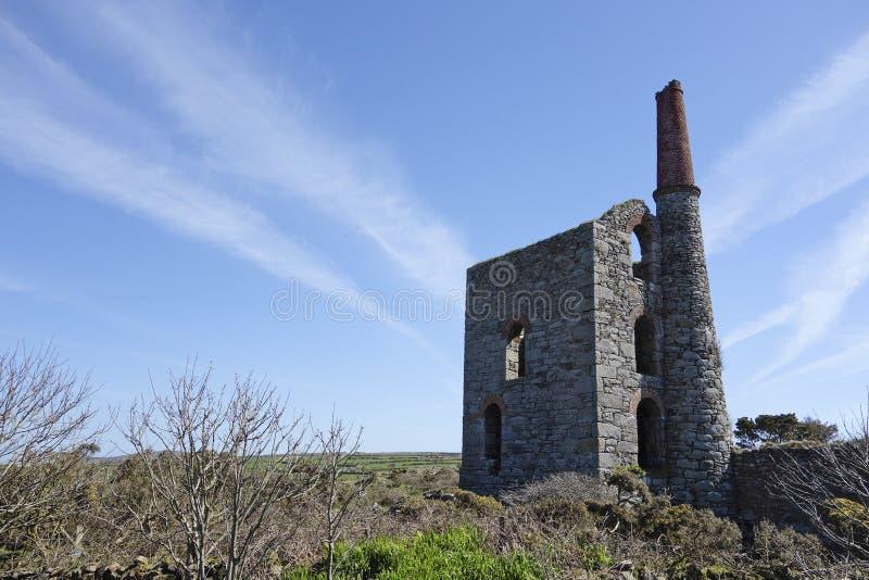Gamla Tin Mine Cornwall England royaltyfri foto