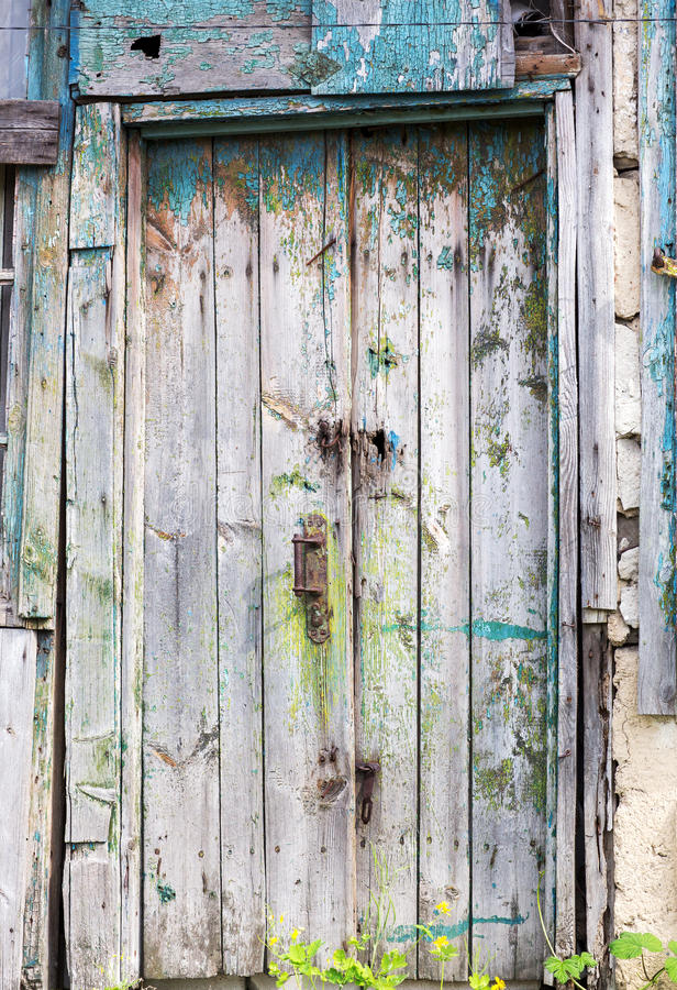 Gamla trädörrar, texturer arkivfoton