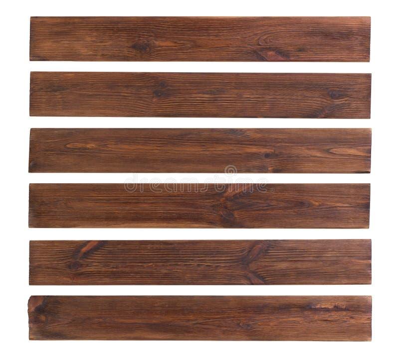 Gamla tr?plankor som isoleras p? vit bakgrund royaltyfri bild