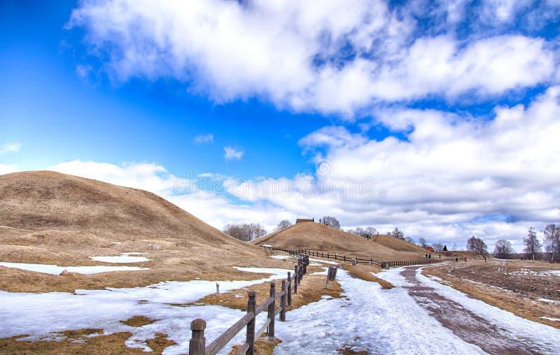 Gamla Uppsala burial mounds. Image of the viking age burial mounds at Old Uppsala, Sweden stock photo