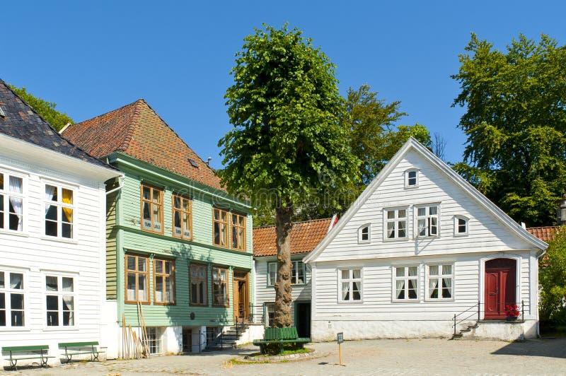 Gamle Bergen Stary muzeum - na wolnym powietrzu muzeum obrazy royalty free