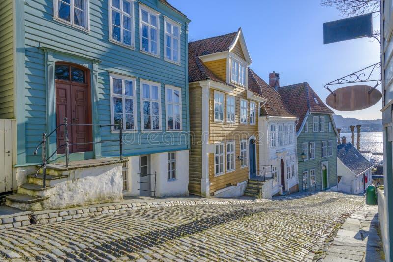 Gamle (oud) Bergen Museum in Bergen, Noorwegen stock foto's