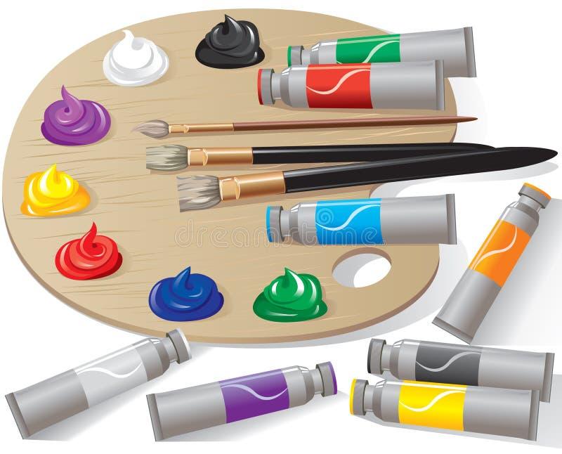 Gamma di colori di legno con le vernici illustrazione vettoriale