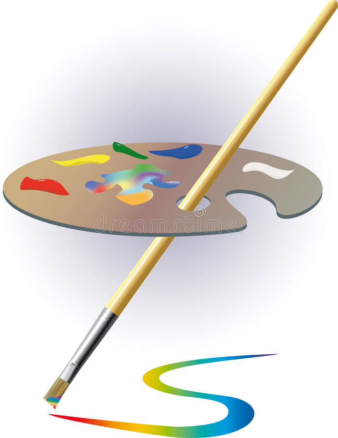 Gamma di colori e spazzola. fotografia stock libera da diritti