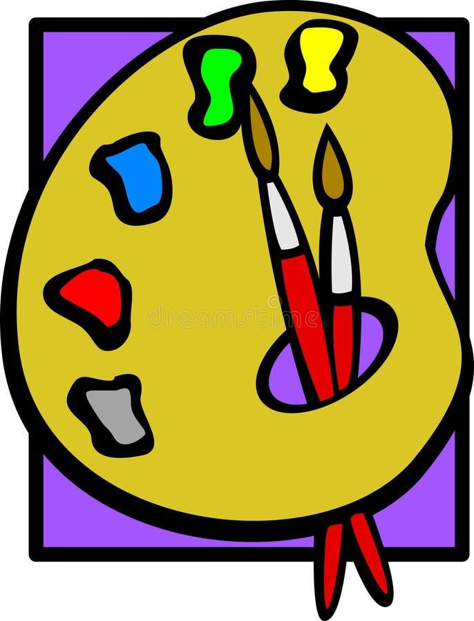 Gamma di colori e spazzole della pittura royalty illustrazione gratis