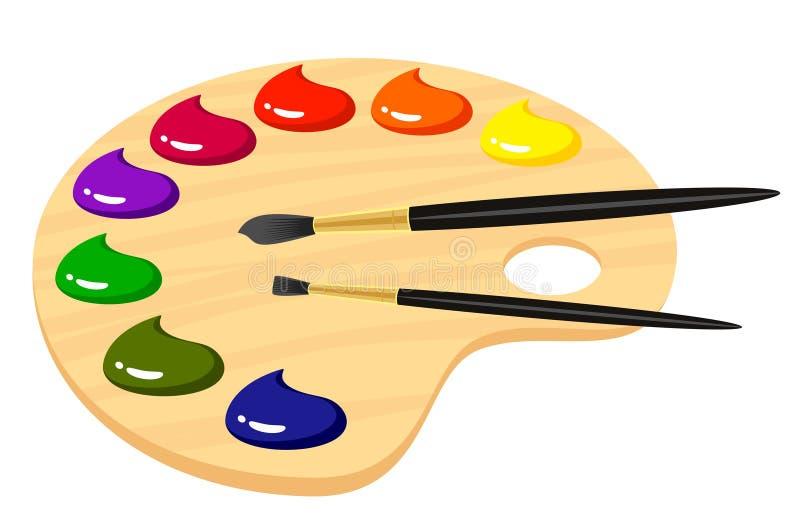 Gamma di colori per gli artisti con le vernici illustrazione vettoriale