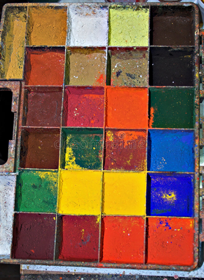 Gamma di colori in vivo del pittore immagine stock