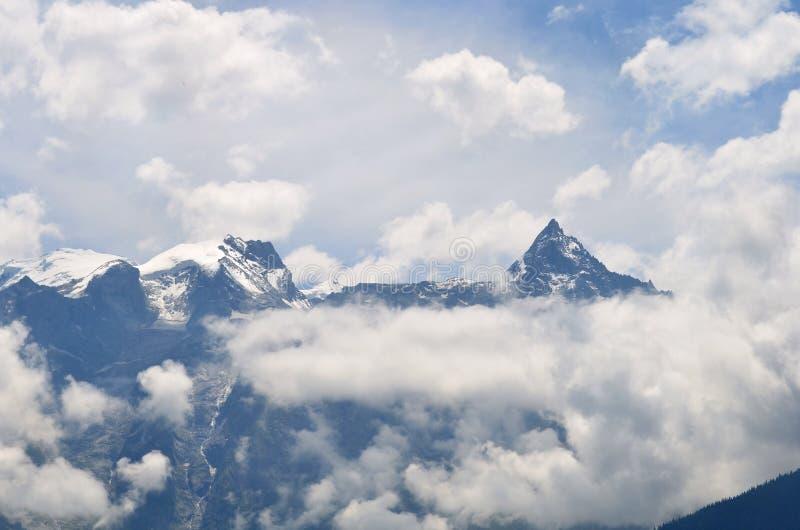 Gamma di Kinnaur Kailash, Himachal Pradesh, India fotografie stock libere da diritti