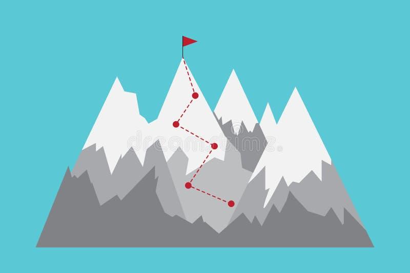 Gamma di montagne piana con la bandiera illustrazione di stock