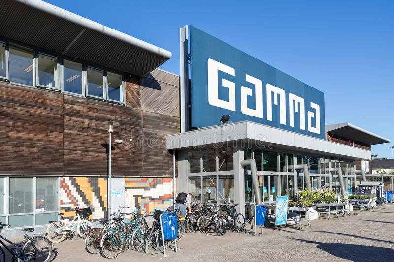 Gamma hardware store. Gamma is a Dutch hardware store-chain. It started in May 11, 1978 in Breda stock photo