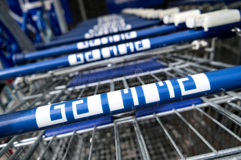 Gamma shopping carts. Gamma is a Dutch hardware store-chain. It started in May 11, 1978 in Breda stock photography