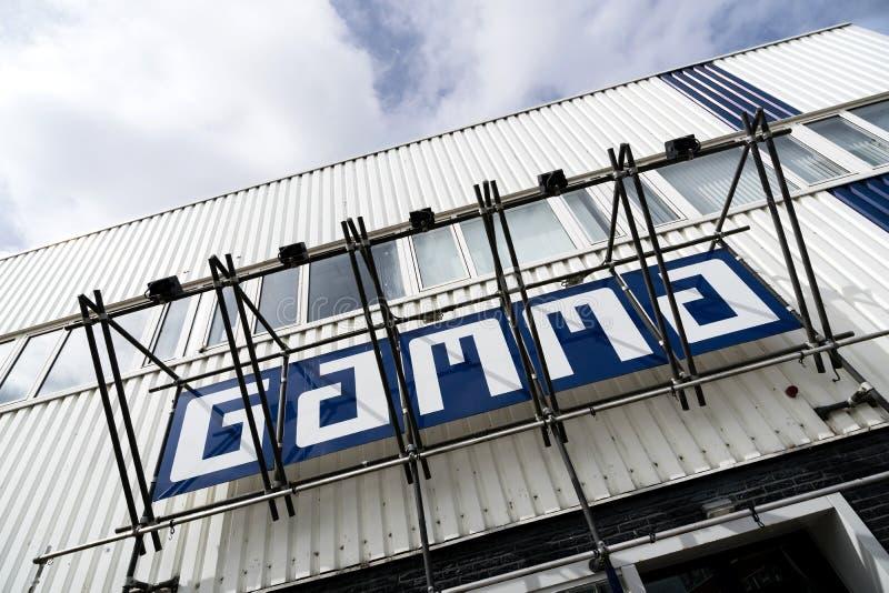 Gamma logo przy narzędzia sklepem zdjęcie royalty free