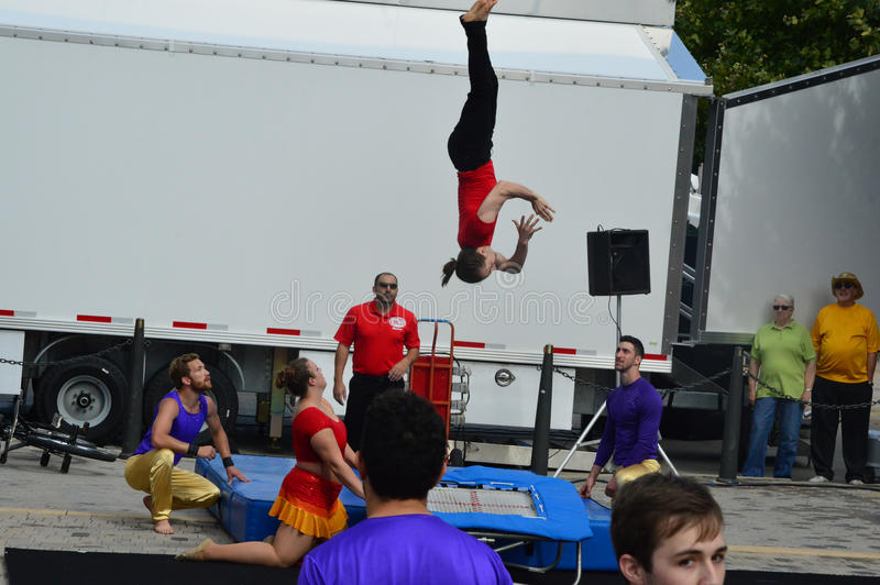 Gamma Phi Circus acrobats. Bloomington City, USA - August 27, 2016 - Gamma Phi Circus at Sweetcorn and Blues Festival - This photo was taken during Sweetcorn and royalty free stock photos