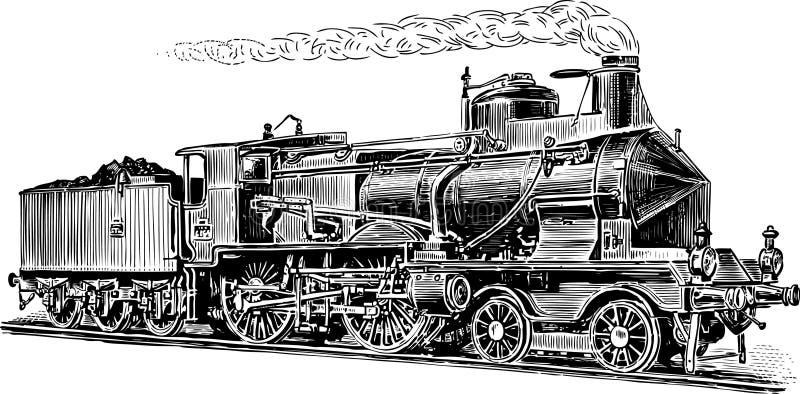 Gammal ångalokomotiv vektor illustrationer