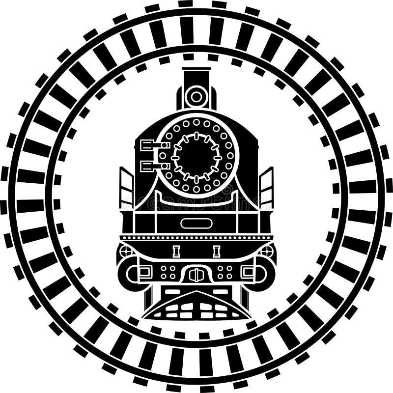 Gammal ångalokomotiv royaltyfri illustrationer