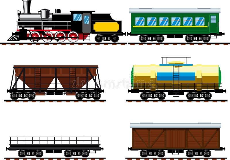 Gammal ångalokomotiv med vagnar royaltyfri illustrationer