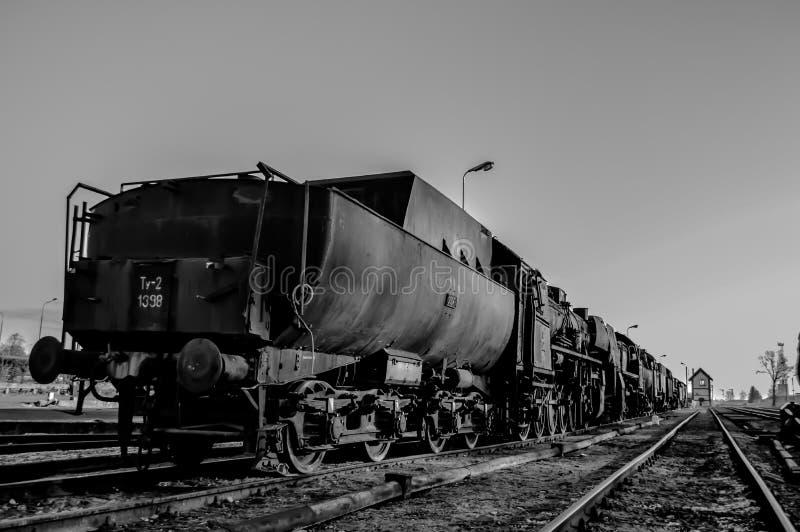 Gammal ånglokomotiv, svart vit royaltyfri foto