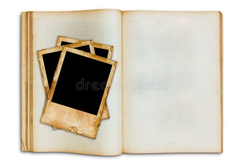 gammal öppen bildtappning för blank bok royaltyfria bilder