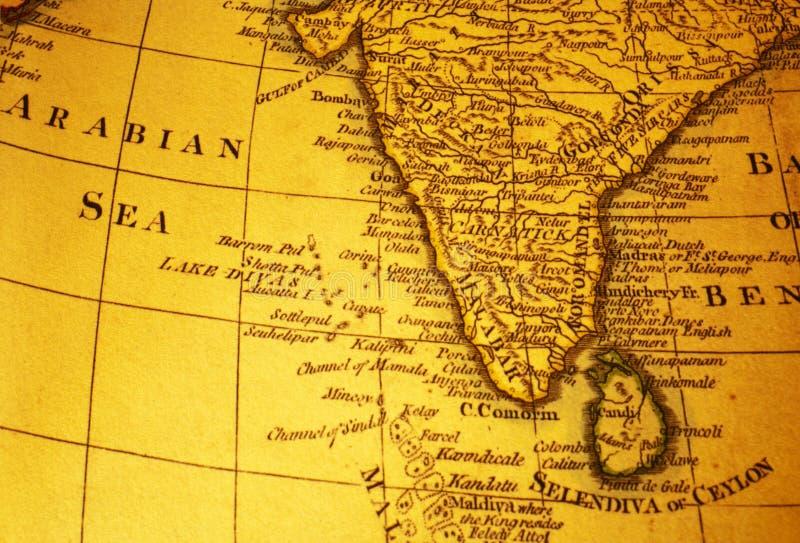 Gammal översikt av Indien och Arabian Sea arkivfoto
