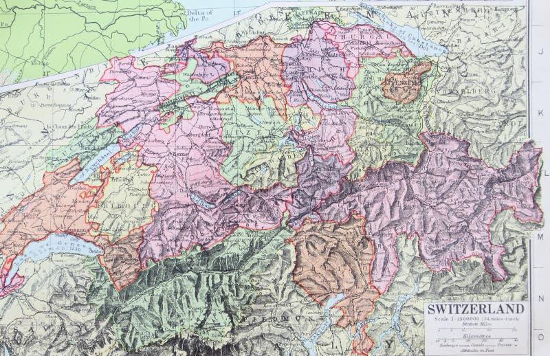 Gammal översikt 1945 av Schweiz royaltyfri illustrationer
