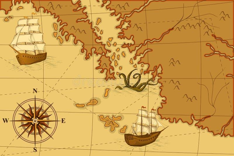 Gammal översikt med en kompass och skepp stock illustrationer