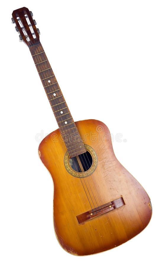 Gammal akustisk gitarr arkivbild