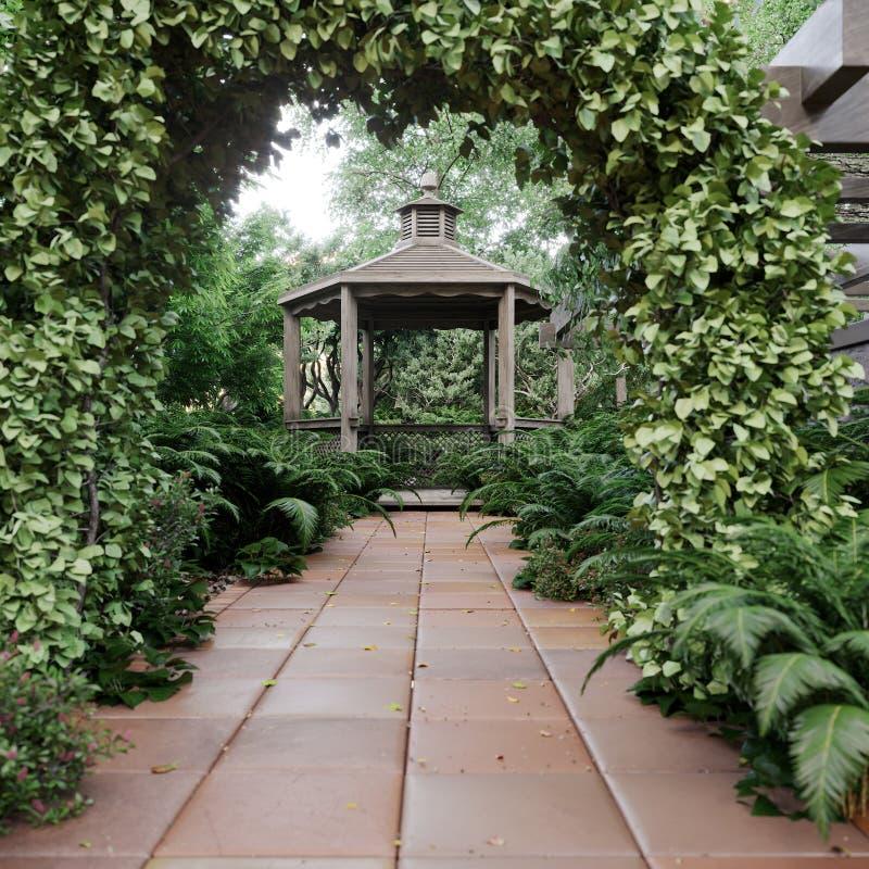 Gammal alkovsikt med den tropiska trädgården efter bakgrund för regnbegreppsfoto royaltyfria foton