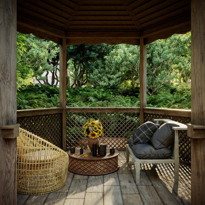 Gammal alkovsikt med den tropiska trädgården efter bakgrund för regnbegreppsfoto arkivfoton