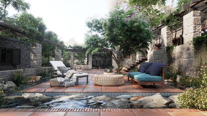 Gammal alkovsikt med den tropiska trädgården efter bakgrund för regnbegreppsfoto royaltyfri foto