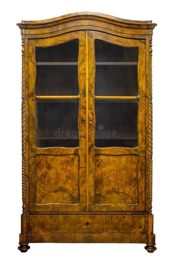 Gammal antik bokhylla som isoleras på vit med gembanan arkivbilder