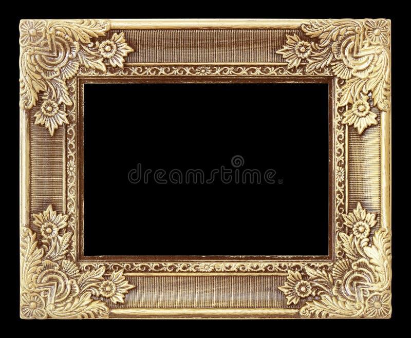 Gammal antik guld- ram på den svarta bakgrunden royaltyfri bild