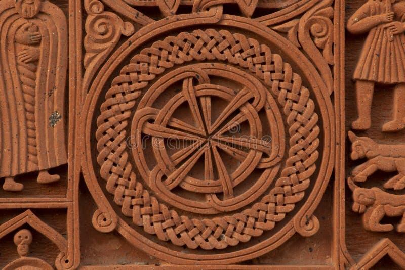 Gammal armenisk gravsten royaltyfria bilder