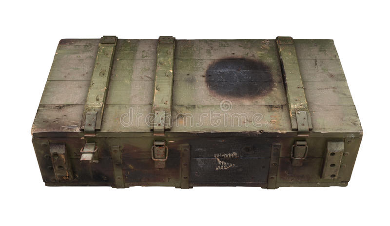 Gammal ask av ammunitionar fotografering för bildbyråer