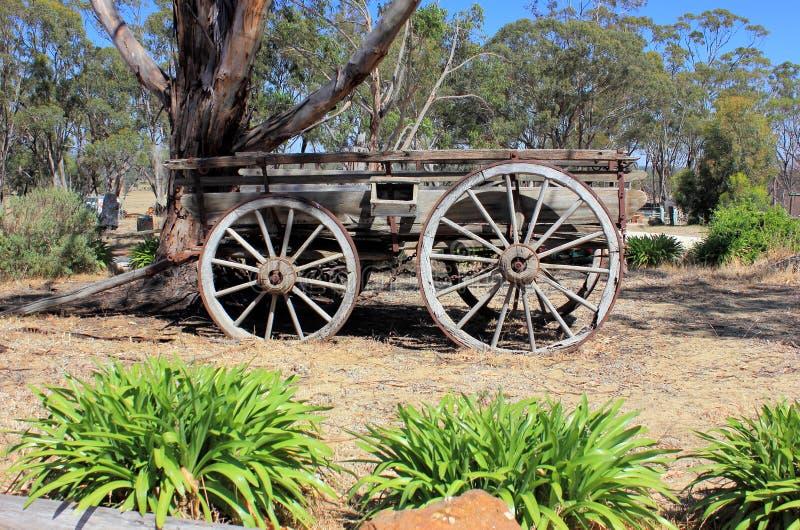 Gammal australisk dragen vagn för nybyggare häst arkivfoto
