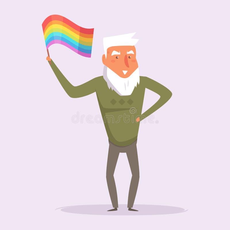 Gammal bög med flaggan LGBTQ vektor illustrationer