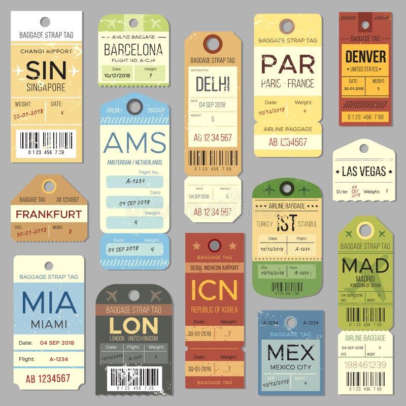 Gammal bagageetikett eller etikett med flygregistersymbol Isolerad uppsättning för vektor för för tappningbagageetiketter och bil vektor illustrationer