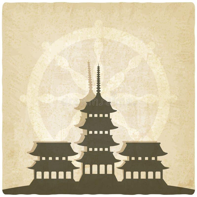 Gammal bakgrund för buddistisk tempel stock illustrationer