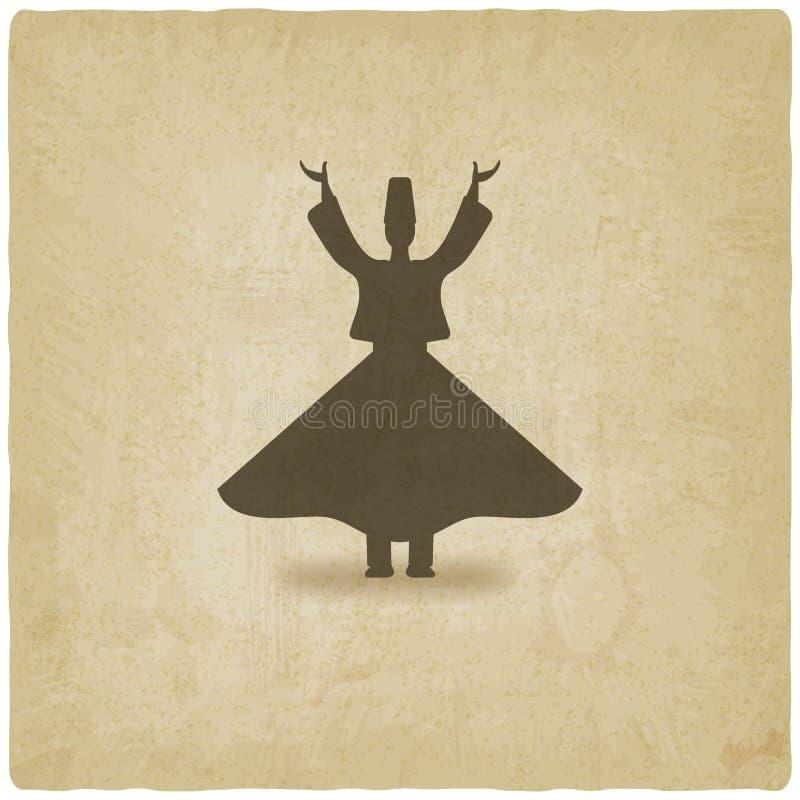 Gammal bakgrund för dervischdansare stock illustrationer