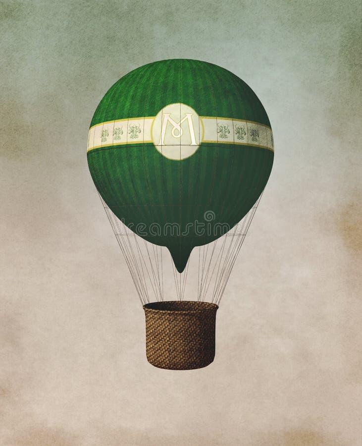 gammal ballong royaltyfri illustrationer