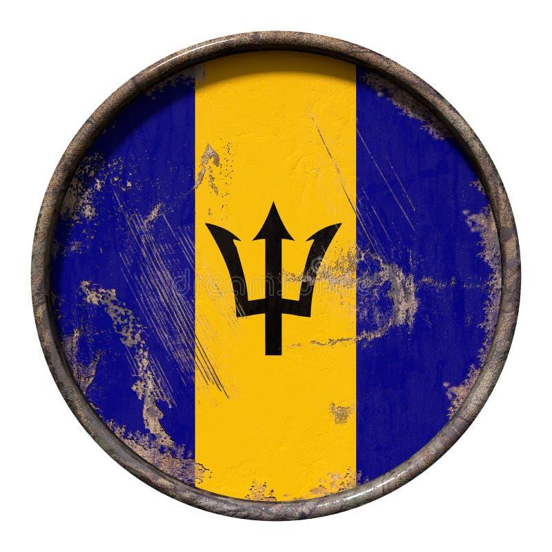 Gammal Barbados flagga stock illustrationer